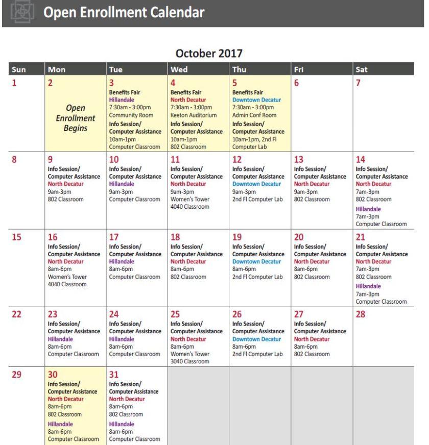 Open Enrollment Calendar